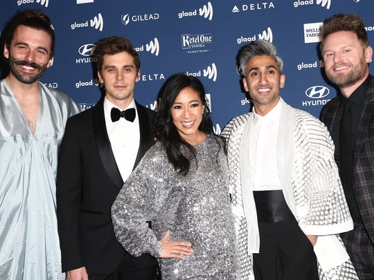 Jonathan Van Ness, Antoni Porowski, Michelle Kwan, Tan France and Bobby Berk attend the 30th Annual GLAAD Media Awards on March 28 in Beverly Hills, California.