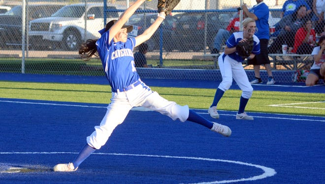 Carlsbad's Teddi Garcia, seen here in the Cavegirls' 2017 home opener March 14 against Lubbock-Coronado, is carrying the load in the pitcher's circle.