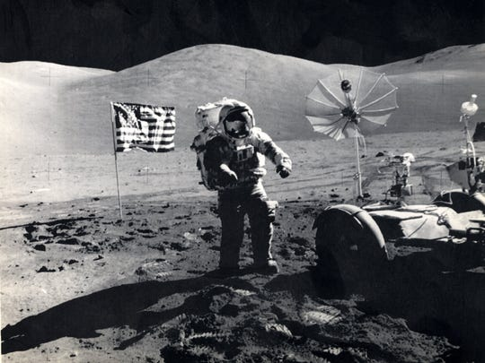 AP file photo On Dec. 11, 1972, the Apollo 17 lunar module landed on the moon with astronauts Eugene Cernan and Harrison Schmitt. They are the last men to step on the lunar surface.