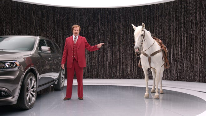 Fictional anchorman Ron Burgundy (actor Will Ferrell) compare the horsepower in a new Dodge Durango to a real horse.
