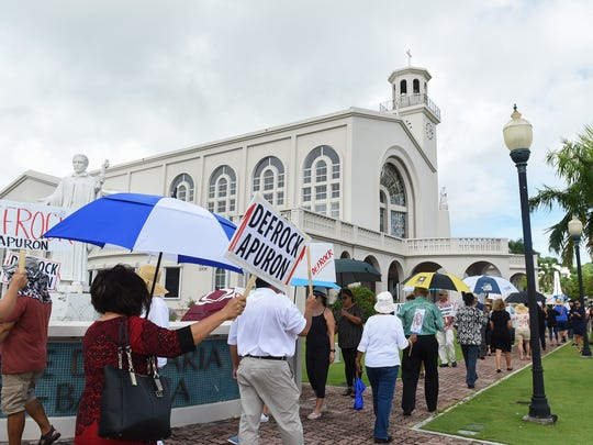 The Laity Forward Movement and Concerned Catholics of Guam held their last protest calling for the defrocking of Archbishop Anthony Apuron before the Vatican's decision on his removal from the Archdiocese of Agana at the Dulce Nombre de Maria Cathedral-Basilica in Hagåtña on July 9, 2017.