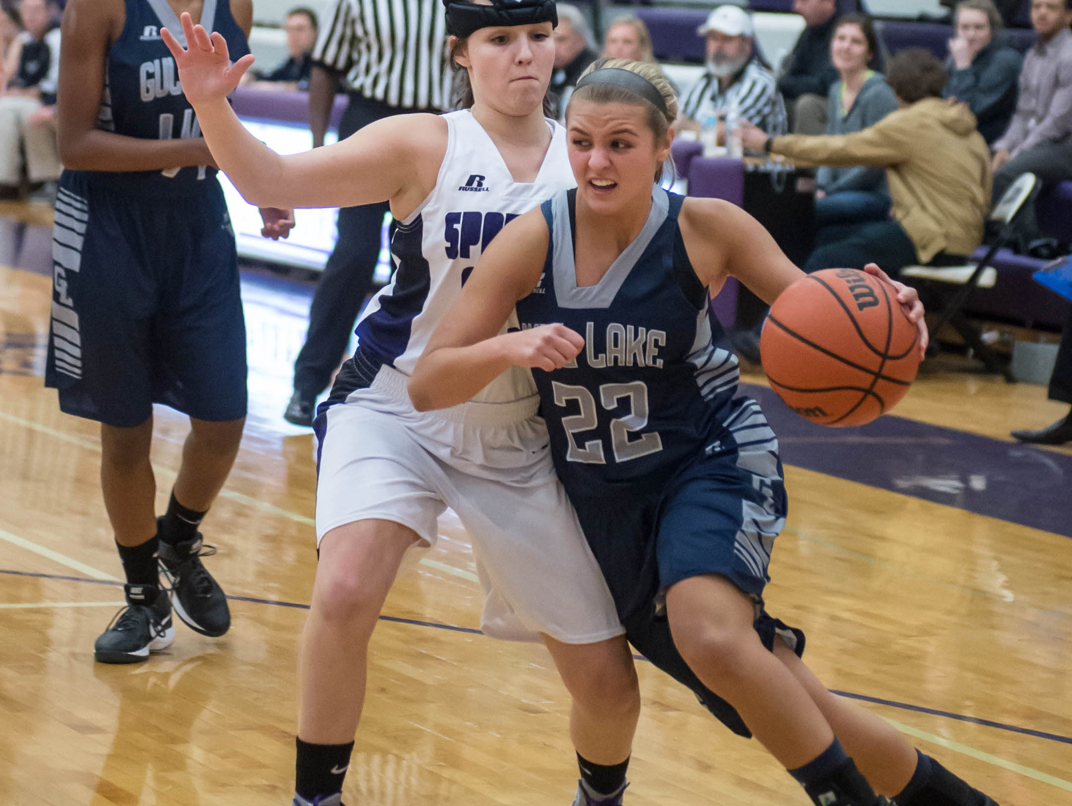 Gull Lakes's Braedan Snow drives to the basket against Lakeview in Friday evening's game.