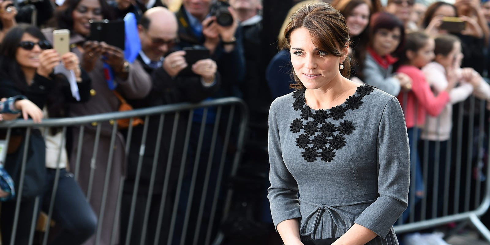 Duchess Kate Back To Looking Elegant Fashion Mishap Forgotten Embroidery Blouse In Blue Beatrice Clothing