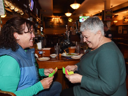 Cathy Varunok, left, of LaGrange, and Kim Sweeney,