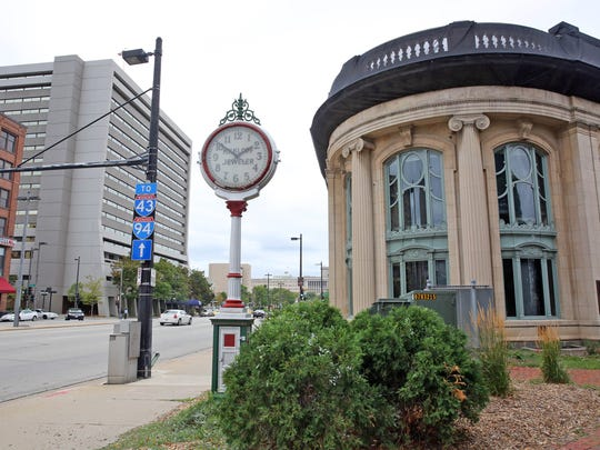 The M.H. Klopf Jeweler sidewalk clock on Kilbourn Ave. next to the Milwaukee County Historical Society was restored in 2001 but stopped working in 2014.