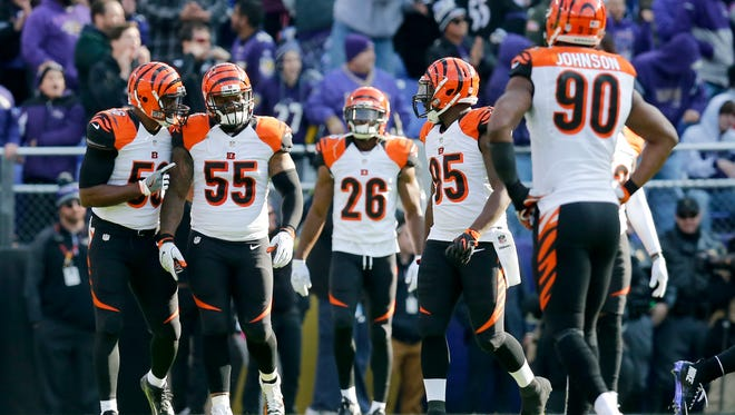 The Cincinnati Bengals' defense regroups after allowing a touchdown pass in the first quarter of the NFL Week 12 game between the Baltimore Ravens and the Cincinnati Bengals at M&T Bank Stadium in Baltimore on Sunday, Nov. 27, 2016. After one half, the Ravens led the Bengals 16-3.