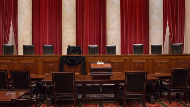 SUPREME COURT OF THE UNITED STATES via  AFP/Getty Images The Supreme Court?s eight justices heard two cases Monday ? one on set-asides and another on illegal police stops. The Supreme Court will resume hearing cases Monday without Justice Antonin Scalia.