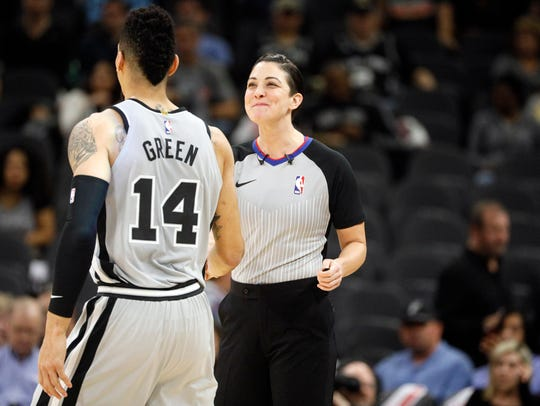 San Antonio Spurs shooting guard Danny Green (14) greets