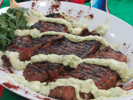 Grilled New York Strip Steaks With Horseradish Guacamole