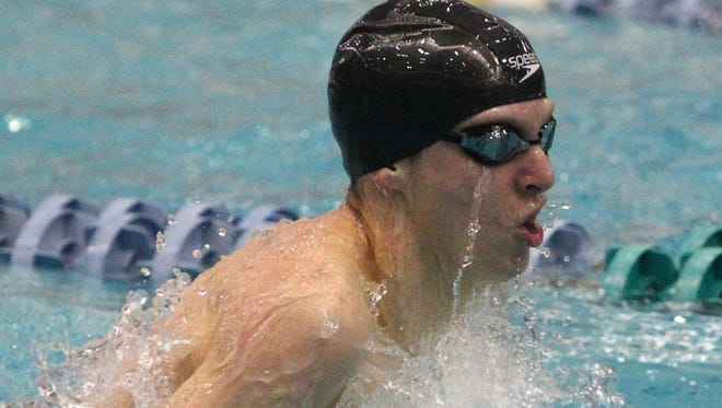 Seamus Trzewik-Quinn of New Paltz swims in a preliminary of the 200-yard individual medley at the NY State swimming and diving championships at the Nassau Aquatic Center March 3, 2017.