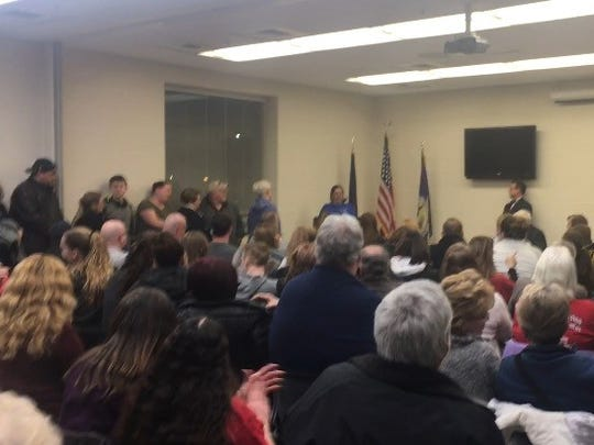 York County residents packed the space at the 911 center for the first public hearing on the potential sale of Pleasant Acres Nursing & Rehabilitation Facility on Tuesday, Feb. 13, 2018. Lindsay VanAsdalan photo