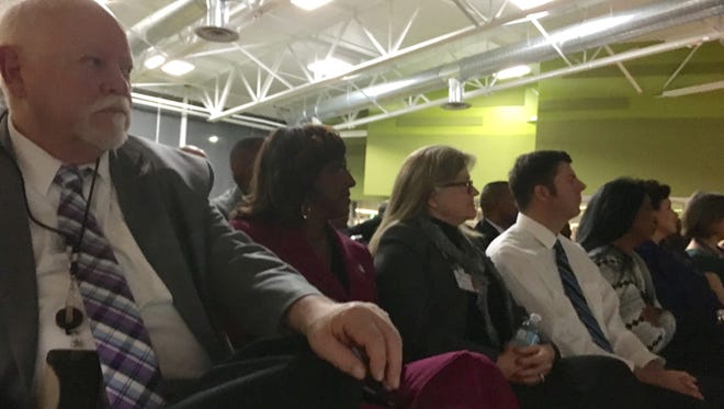 School board trustees listen to Superintendent Traci Davis during the WCSD's State of Education address in February 2017.