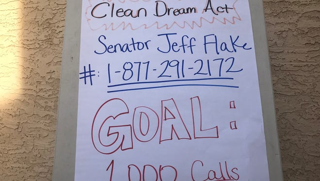 """Immigration activists continued to pressSen. Jeff Flake fora """"clean"""" Dream Act,flooding his office with callsto legalize """"dreamers'"""" status."""