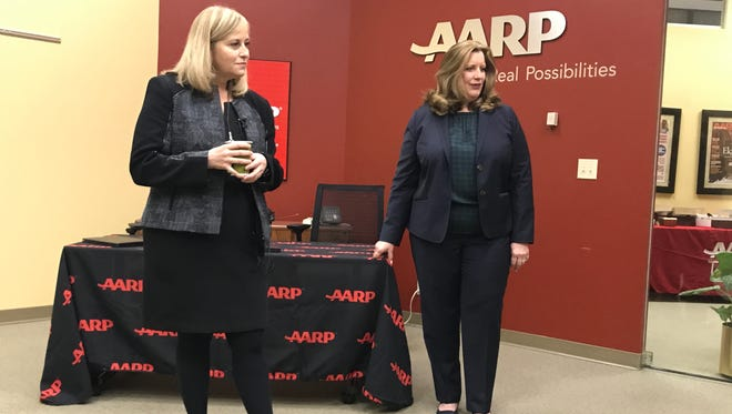 Mayor Megan Barry, left, talks alongside Rebecca Kelly, state director of Tennessee AARP, on Tuesday.
