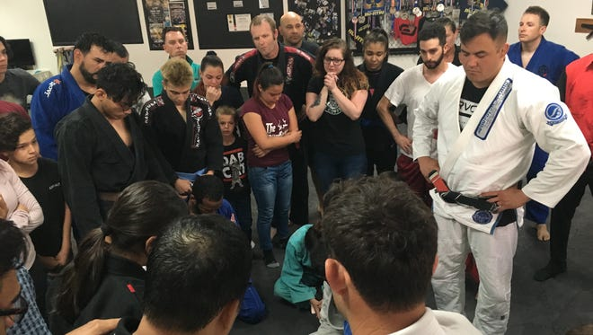 Friends of Ramon Diaz gather at Palm Springs Jiu-Jitsu a day after he was killed.