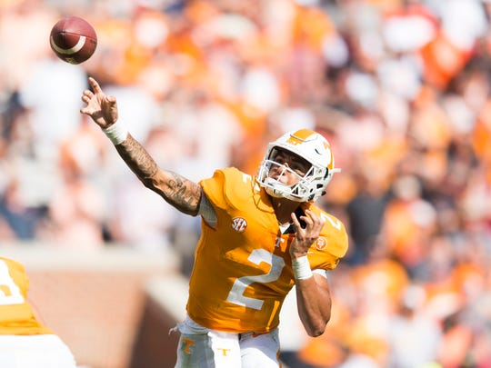Tennessee quarterback Jarrett Guarantano (2) throws the ball during a Tennessee vs. South Carolina game at Neyland Stadium in Knoxville, Tenn. Saturday, Oct. 14, 2017.