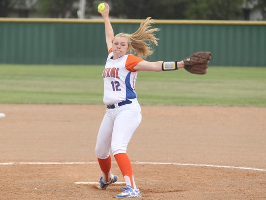 San Angelo Central High School freshman pitcher Baylee Fulps goes through her windup in the District 8-6A finale against Killeen Shoemaker at the Central Softball Complex on Friday, April 20, 2018.