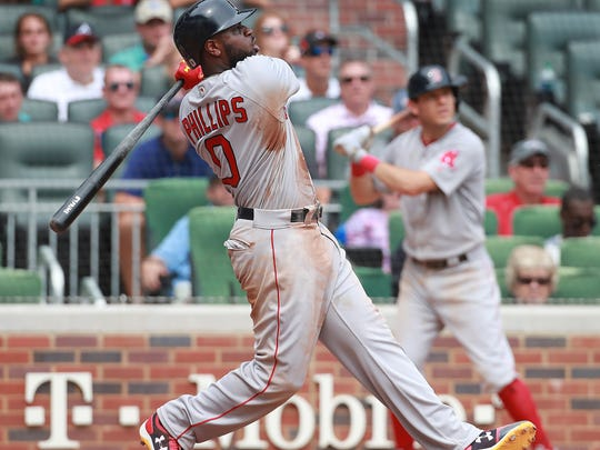 Boston Red Sox Brandon Phillips hits a two-run home