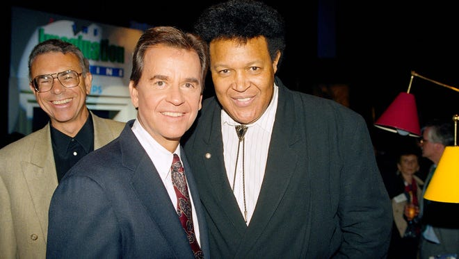 Long-time host of American Bandstand Dick Clark, left, and singer Chubby Checker get together in New York.