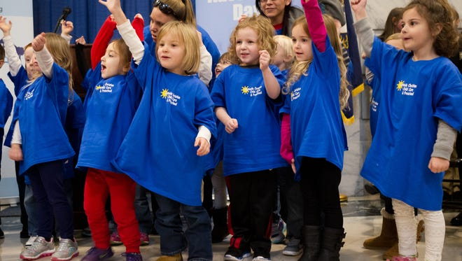 Children from Southside Christian Child Care and Preschool perform during Children's Advocacy Day at the Capitol Thursday.