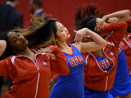 St. Francis Brooklyn cheerleaders in action as the