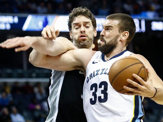 Memphis Grizzlies center Marc Gasol (right) is fouled