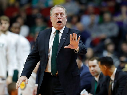 Michigan State coach Tom Izzo directs his team against
