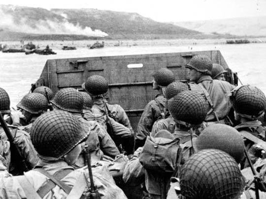 Assault troops approach Omaha Beach on D-Day, June 6, 1944.