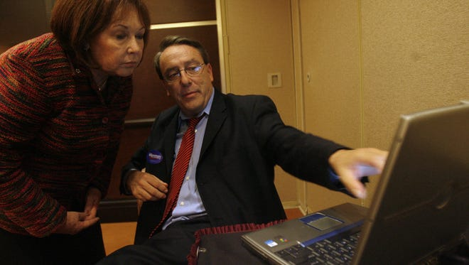 Julie Bornstein (left) photographed on Election Night 2008 with with her congressional campaign manager, Walter Ludwig, at the Agua Caliente Casino Resort in Rancho Mirage.