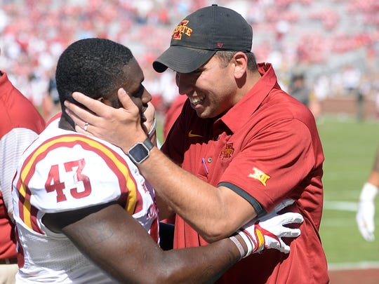 Iowa State head coach Matt Campbell celebrates with