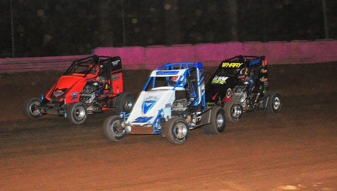 Tim Buckwalter, center, is in front of the lead pack during a 600 Micro Sprint race at Linda's Speedway on Friday. Buckwalter won two races at the track Friday.