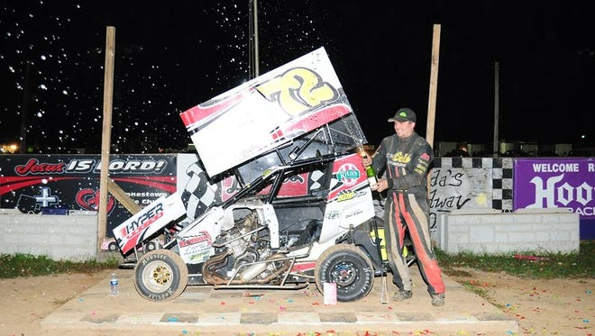 Duane Maurer celebrates his 600 Micro Sprints win in the National Open at Linda's Speedway last weekend.