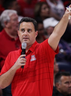 Arizona Wildcats head coach Sean Miller addresses the crowd during the University of Arizona Wildcats Red-Blue men's basketball scrimmage in McKale Center on Oct. 20, 2017, in Tucson, Ariz.