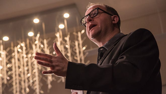 U.S. Representative Jared Polis speaks to a crowd of hundreds at a town hall he hosted at Colorado State University's Lory Student Center on Sunday, March 12, 2017.