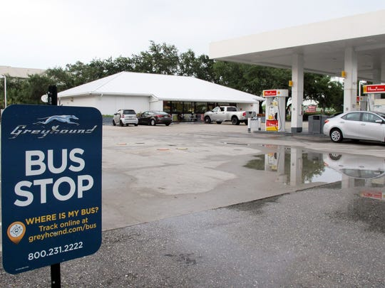 The bus stop in Collier County where Greyhound picks up and drops off customers is at the Shell gas station at 3825 Tollgate Blvd., near the intersection of Beck and Collier boulevards.