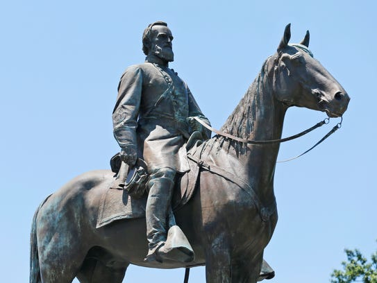 This Wednesday, June 28, 2017 file photo shows the statue of Confederate Gen. Stonewall Jackson on Monument Avenue in Richmond, Va.