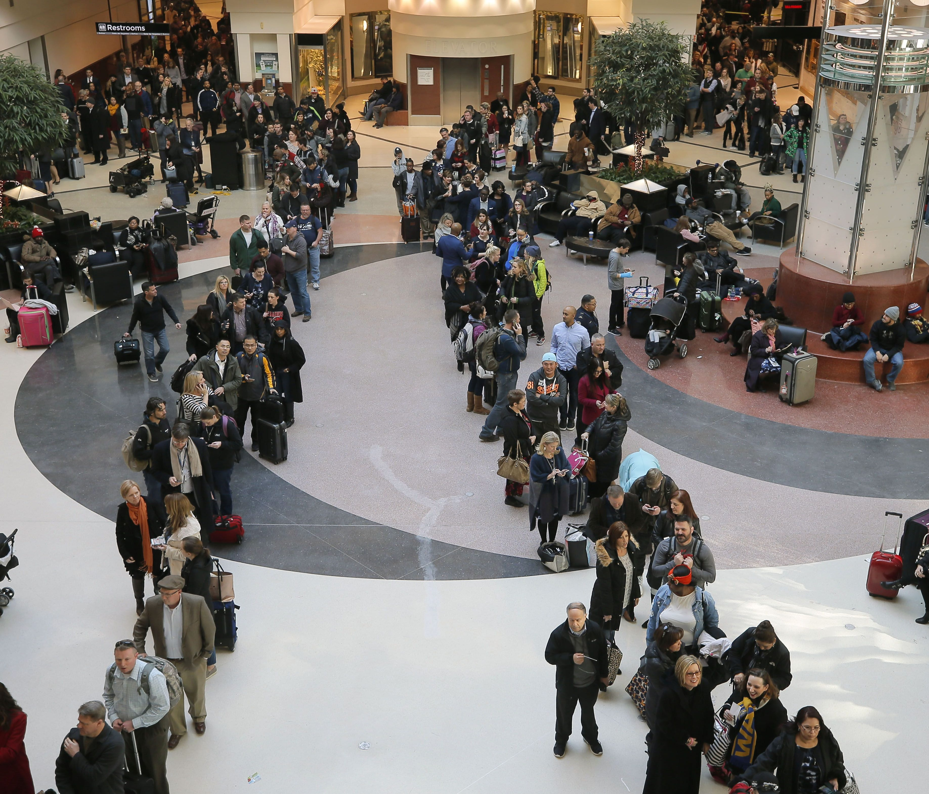 Security lines wrapped through the atrium and around the baggage areas and wait times were more than two hours long at Hartsfield-Jackson International Airport on Wednesday, Jan. 17, 2018, in the wake of a snowstorm. A shortage of TSA screeners was b