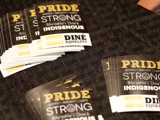 Stickers from the organization, Diné Equality, were