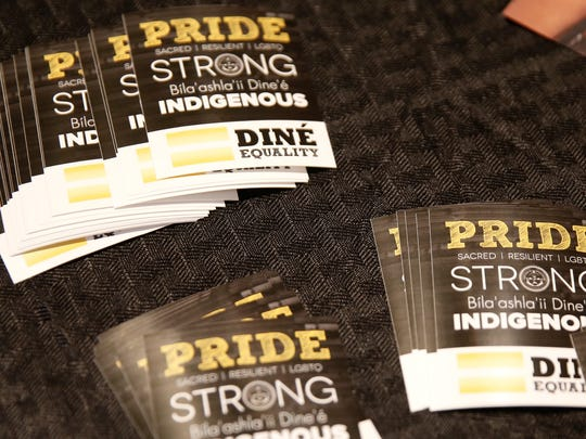 Stickers from the organization, Diné Equality, were available to participants during Diné Pride on Friday at the Division of Navajo Transportation in Tsé Bonito.