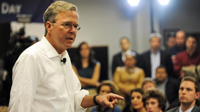 """Presidential hopeful Jeb Bush told about 200 Republicans in Grand Rapids he has """"a set of solutions"""" to fix the problems in Washington."""