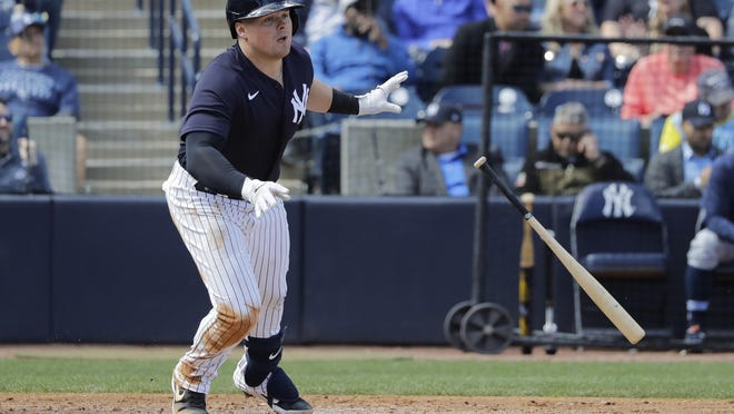 Yankees' Luke Voit, hitting against the Tampa Bay Rays on Feb. 27, batted .267 (8-for-30) with a double and a home run in 10 Grapefruit League games.