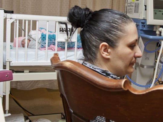 Gracinda Pereira visits her daughter, Amari, in the NICU at York Hospital. Amari was born March 22, weighing 2 pounds 5 ounces. Pereira has been at the hospital every day to see and hold her baby, and she will be spending Mothers Day at the baby's side, too.