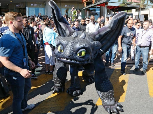 A 6-foot-long costumed version of DreamWorks' Toothless the Dragon is sure  to draw attention to movies that don't fit in with the usual highbrow fare at the Cannes Film Festival.