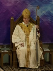 The Most Reverend Bishop Joseph M. Siegel moments after