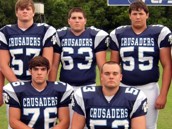 Westminster Christian Academy football players Eric Scott, back from left, Jacob Kehrer, Brandon Porche, Addison King, front left, and Lucas Breaux.