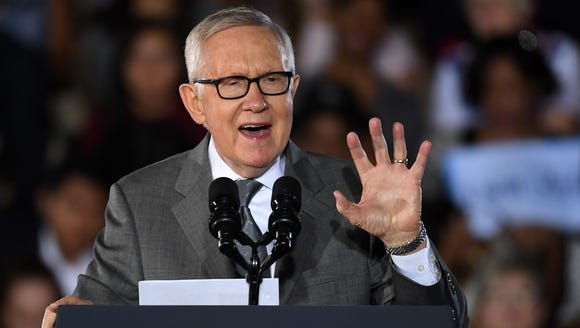 Senate Minority Leader Harry Reid speaks at a campaign