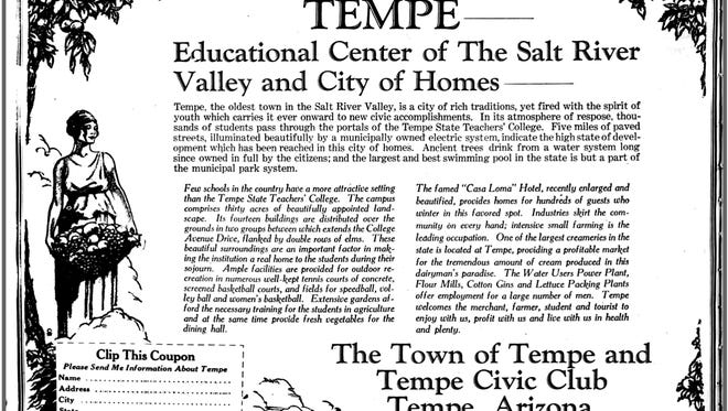 With information probably supplied by Town of Tempe and the Tempe Civic Club, people who should have known better, one of the most egregious articles making a number of false claims about Tempe appeared in the December 30, 1928 edition of the Arizona Republican.