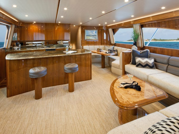 "Viking Yachts range between $1 and $9 million. Take a peek inside the ""salon"" of a 66-foot Viking Yacht."