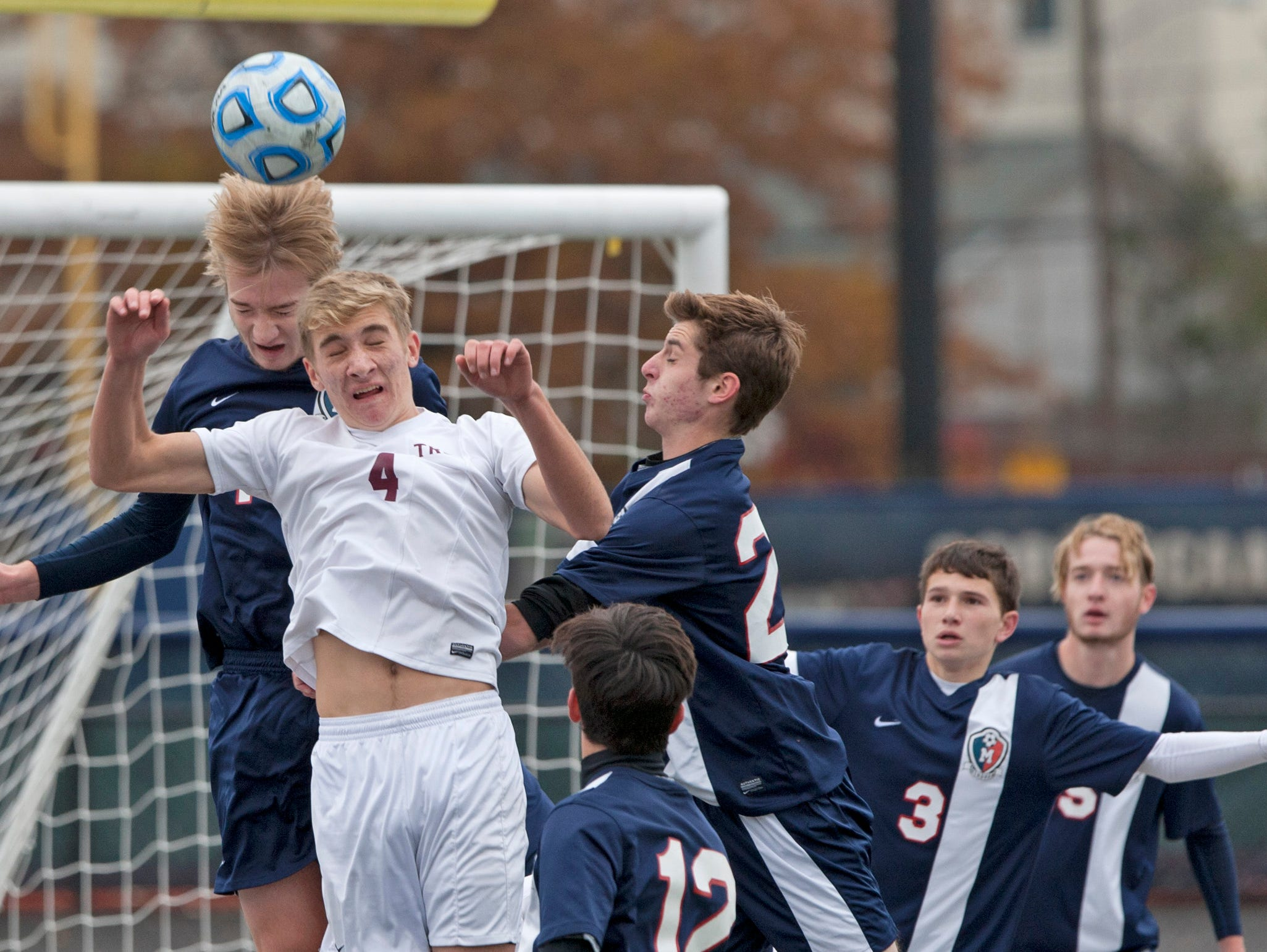 Toms River South's Mike Tapp tries to head ball towards goal. Toms River South Boys Soccer vs West Morris Mendham in NJSIAA State Group III Championship at Kean University on November 22, 2015 in Union, NJ.