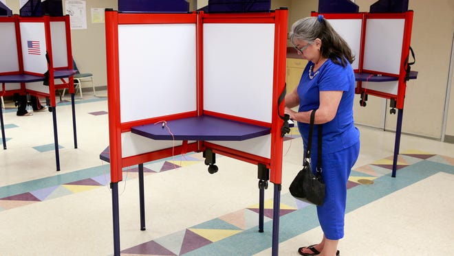 Yvonne Bengfort votes on May 27 at the Farmington Museum at Gateway Park. The primary elections are on Tuesday.